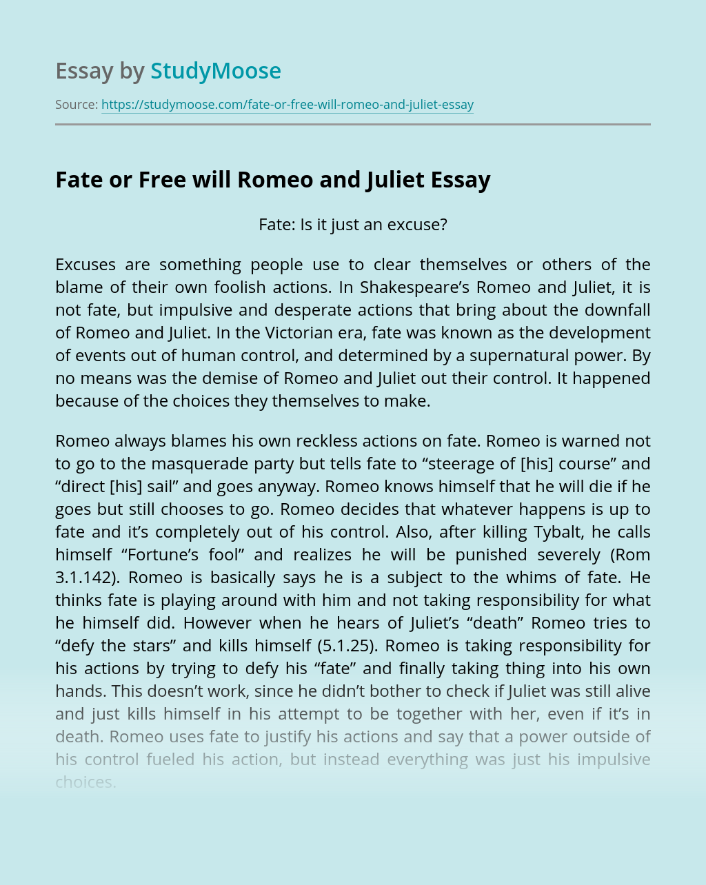Fate or Free will Romeo and Juliet
