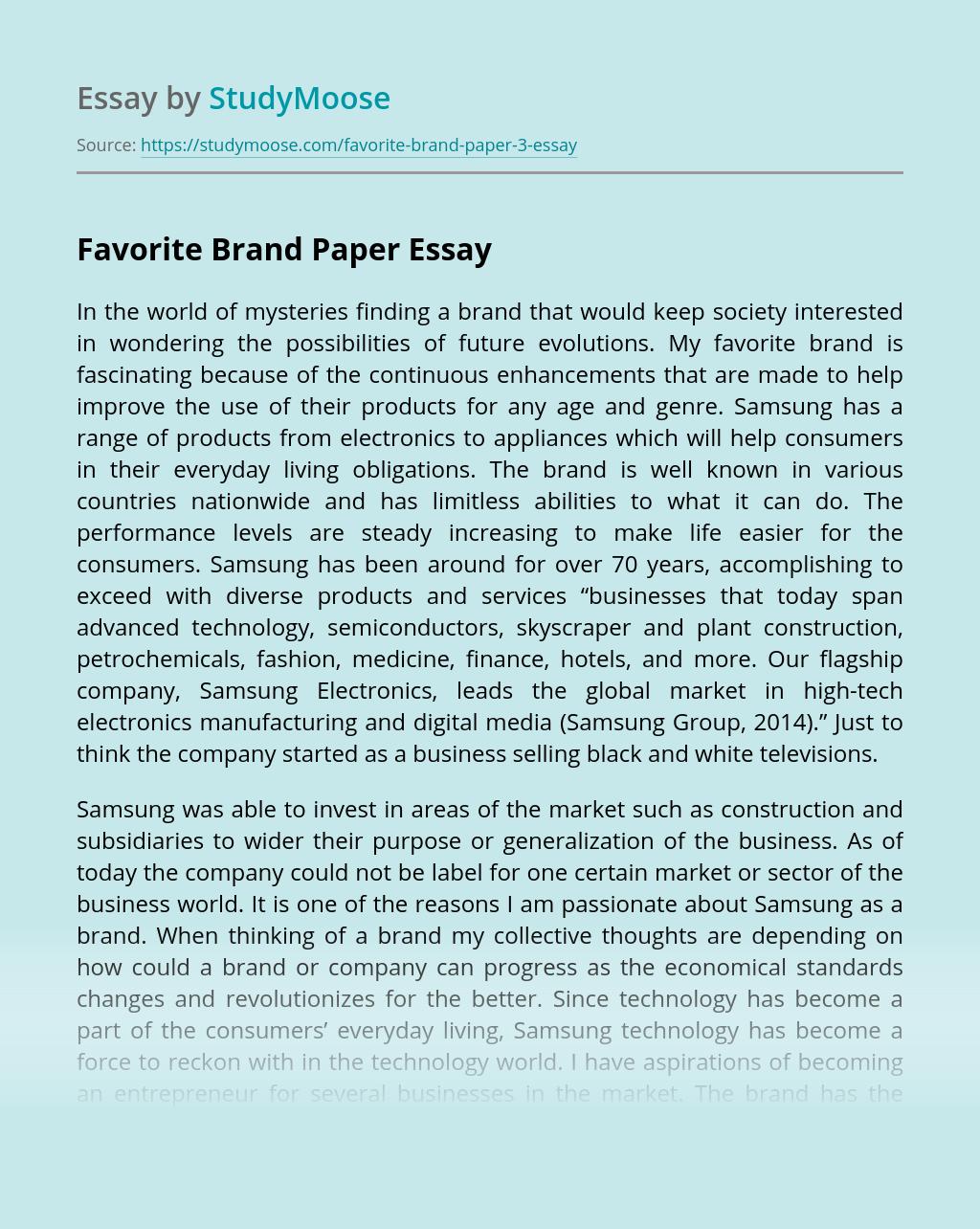 Favorite Brand Paper