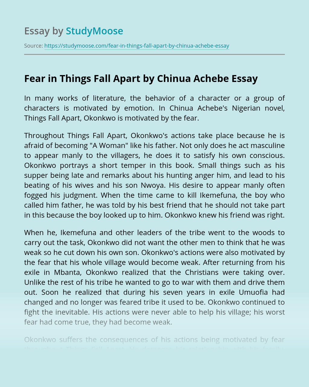 Fear in Things Fall Apart by Chinua Achebe