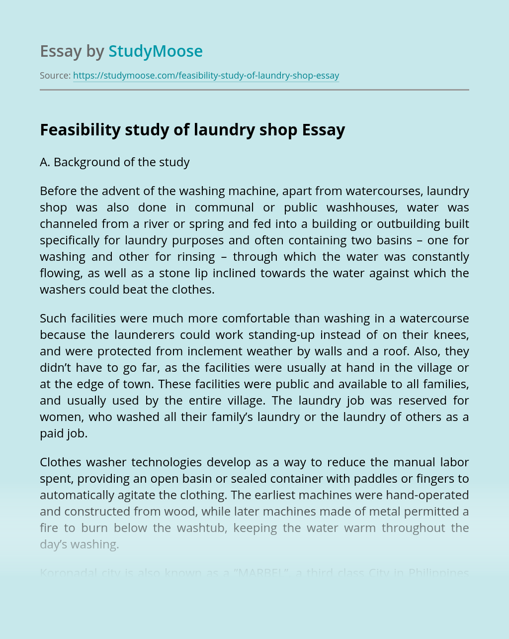 Feasibility Study of Laundry Shop