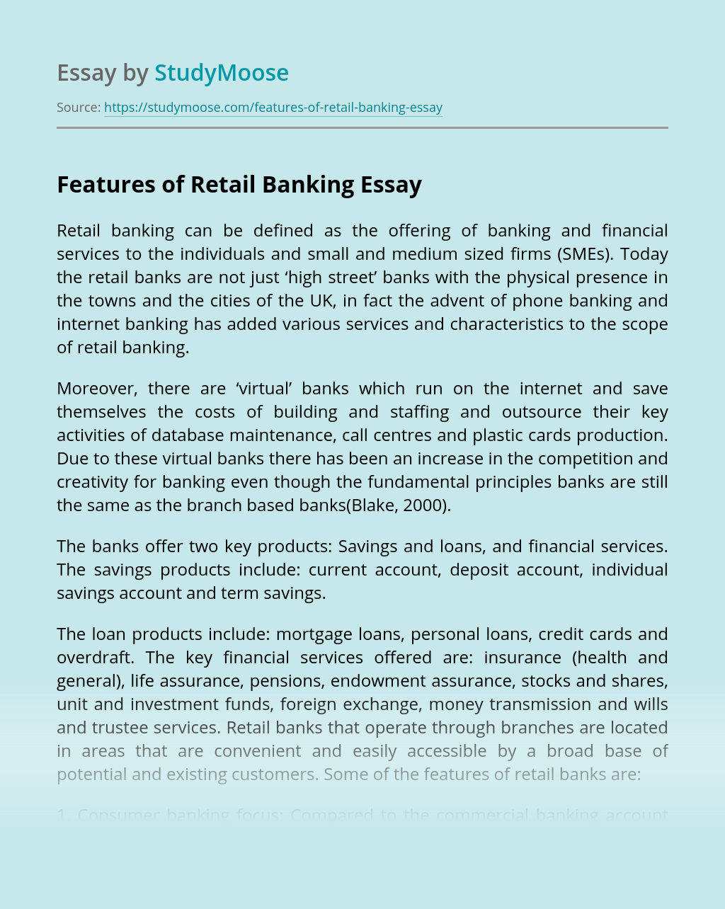 Features of Retail Banking