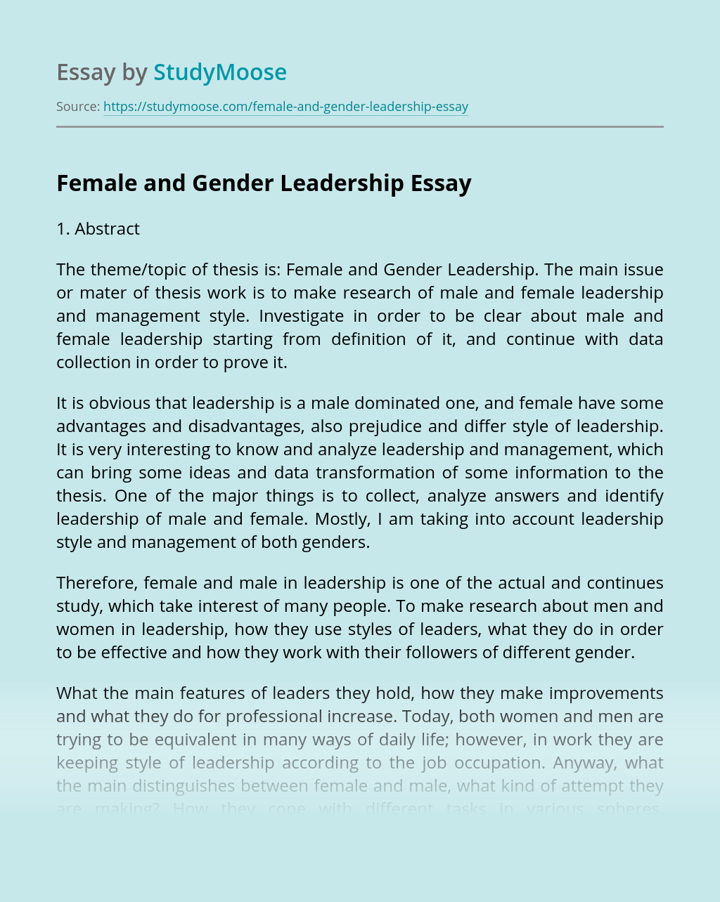 Female and Gender Leadership