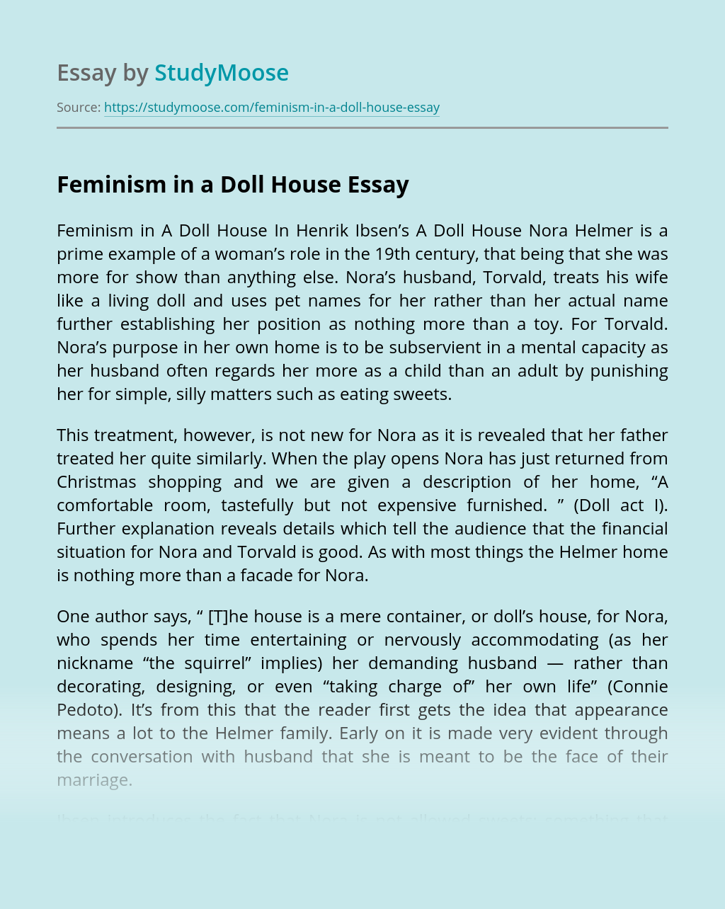 Feminism in a Doll House