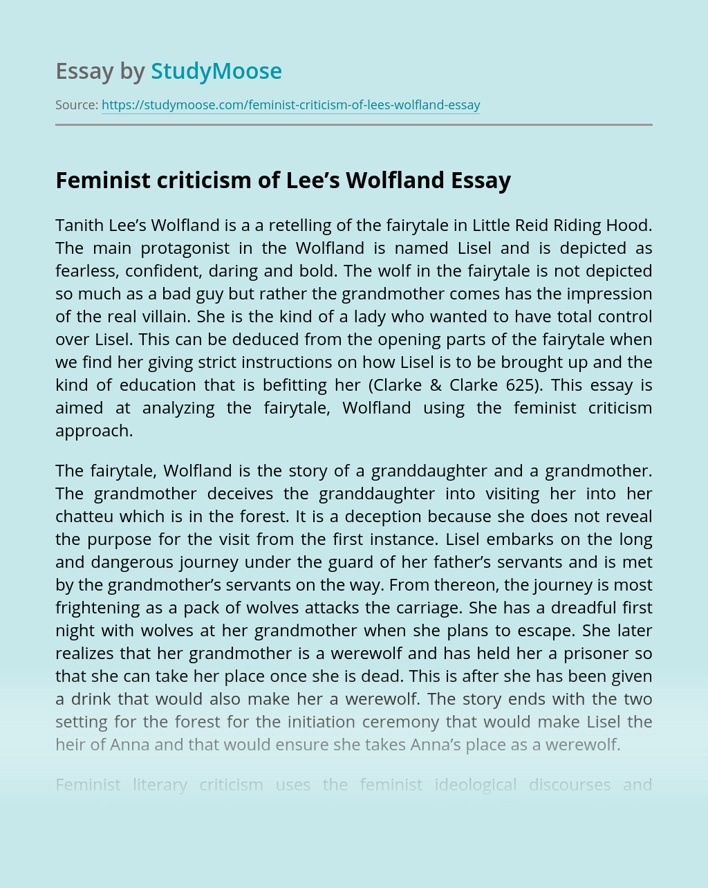 Feminist criticism of Lee's Wolfland
