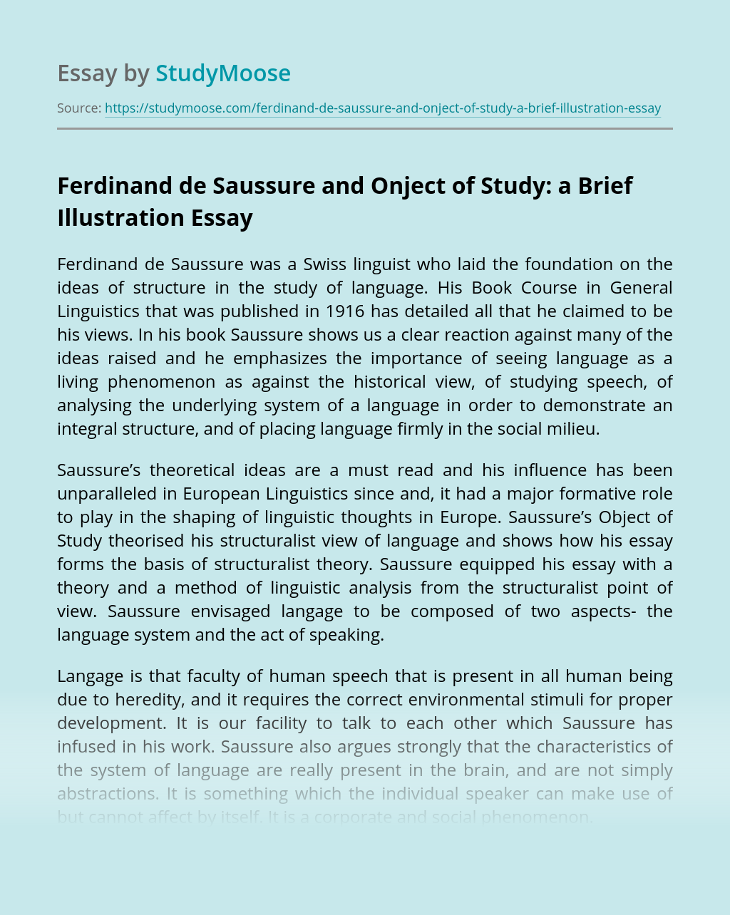 Ferdinand de Saussure and Onject of Study: a Brief Illustration