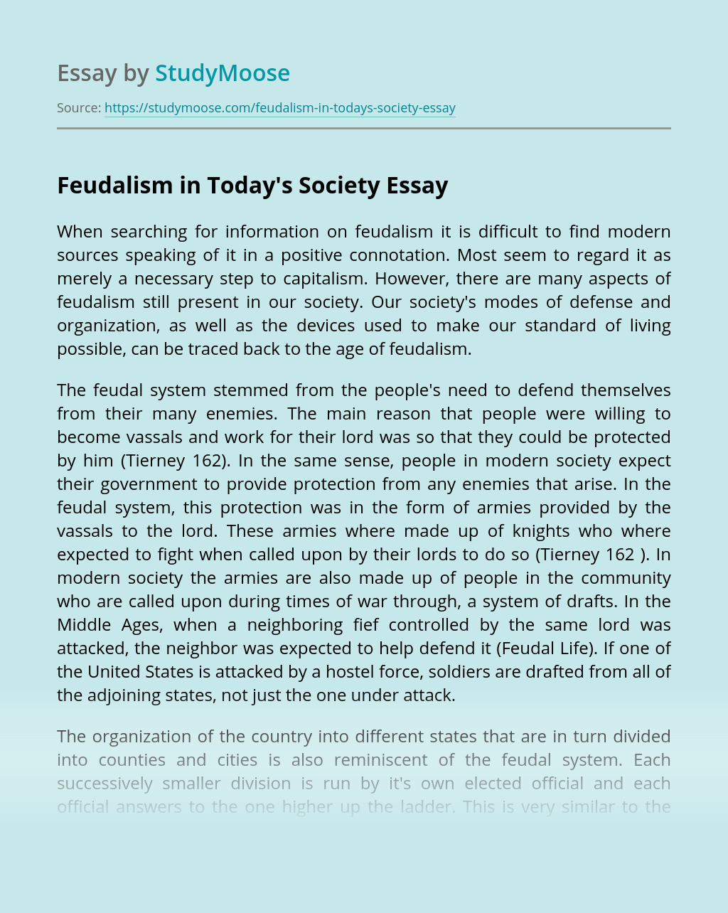 Feudalism in Today's Society