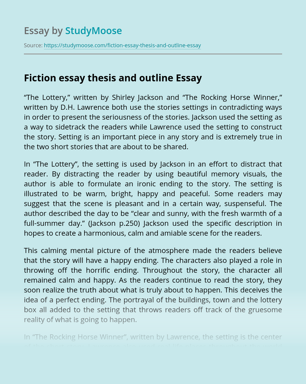 Fiction essay thesis and outline