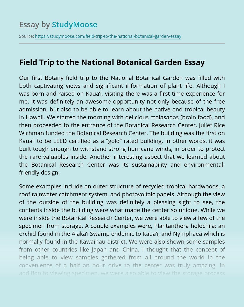 Field Trip to the National Botanical Garden