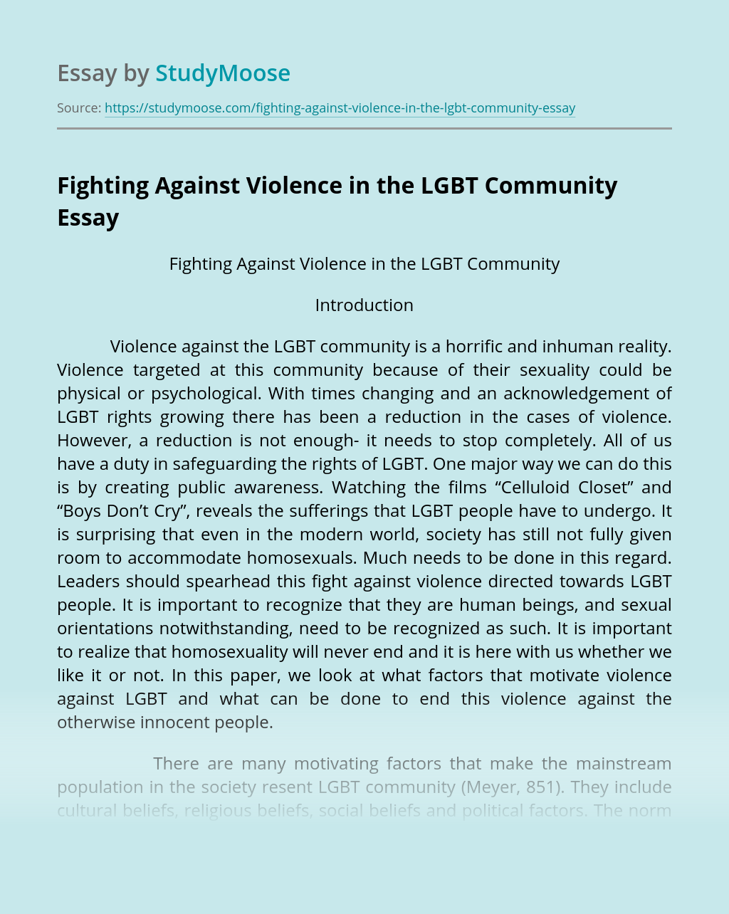 Fighting Against Violence in the LGBT Community