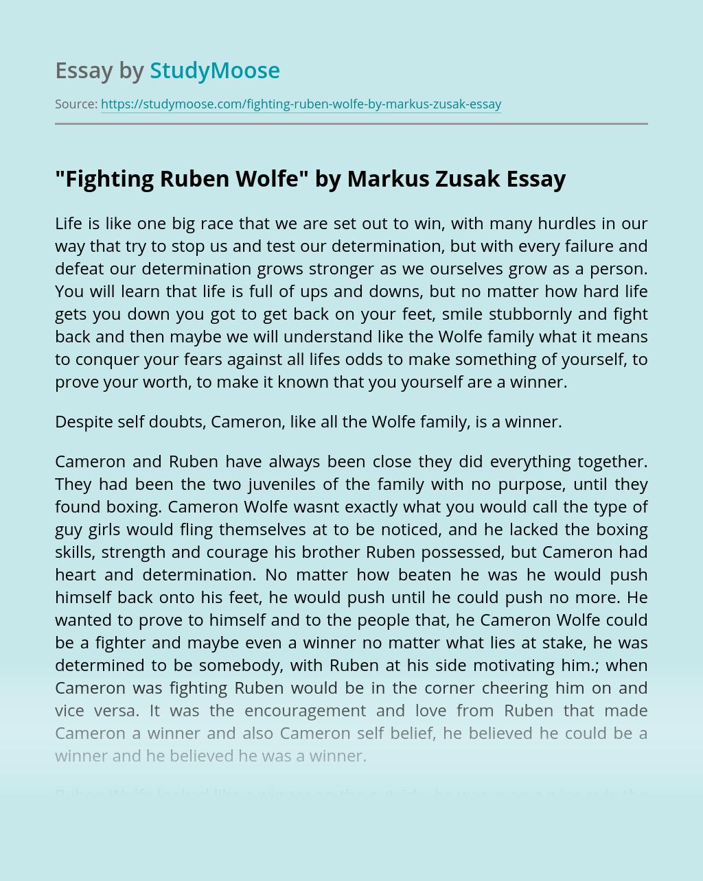 """""""Fighting Ruben Wolfe"""" by Markus Zusak"""
