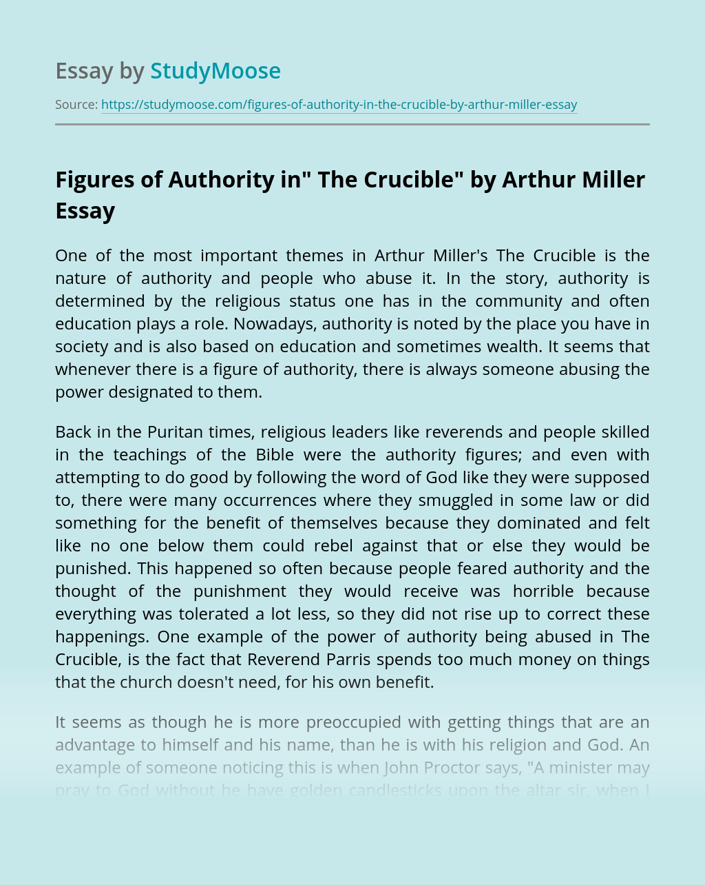 """Figures of Authority in"""" The Crucible"""" by Arthur Miller"""