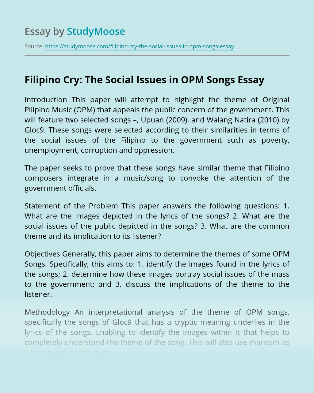 Filipino Cry: The Social Issues in OPM Songs