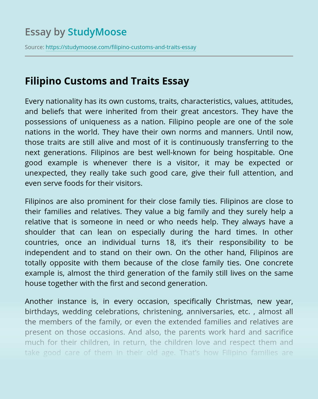 Filipino Customs and Traits