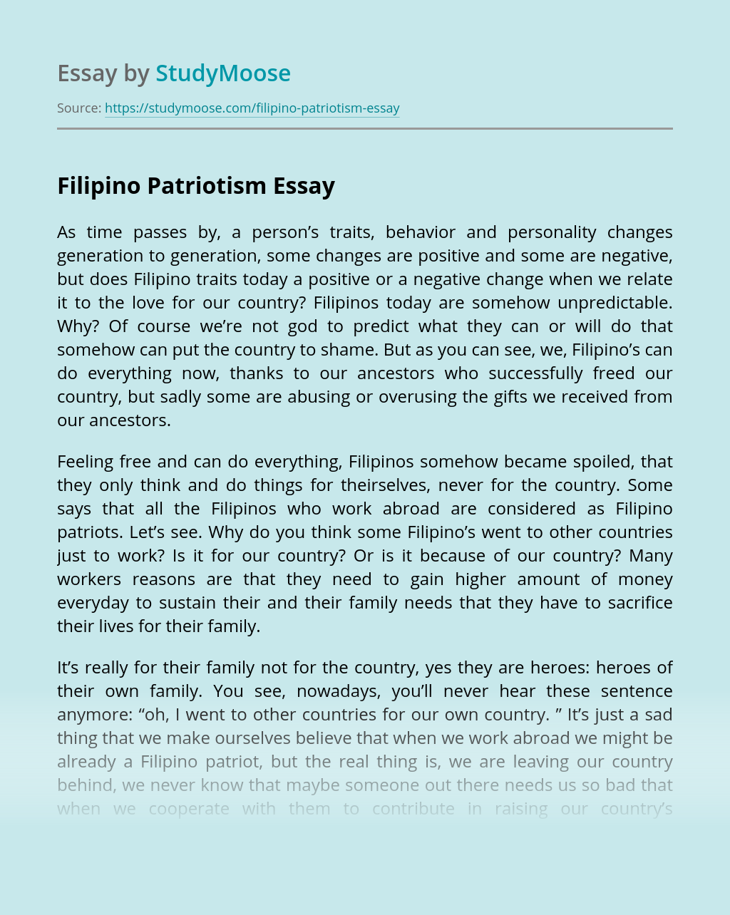 Filipino Patriotism