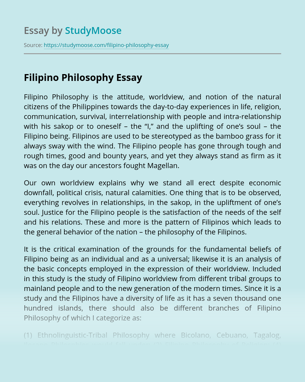 Filipino Philosophy