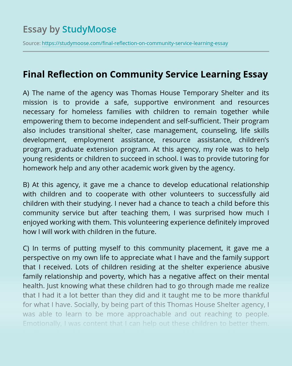 Final Reflection on Community Service Learning