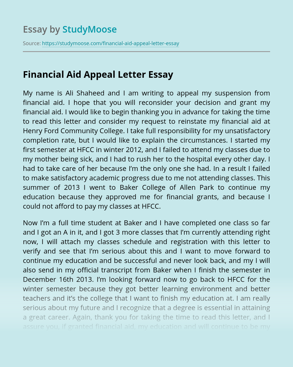 Appeal Letter For Financial Aid from studymoose.com