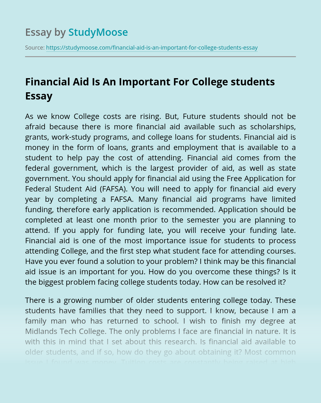 Financial Aid Is An Important For College students