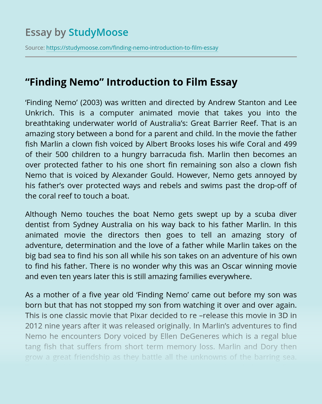 """Finding Nemo"" Introduction to Film"