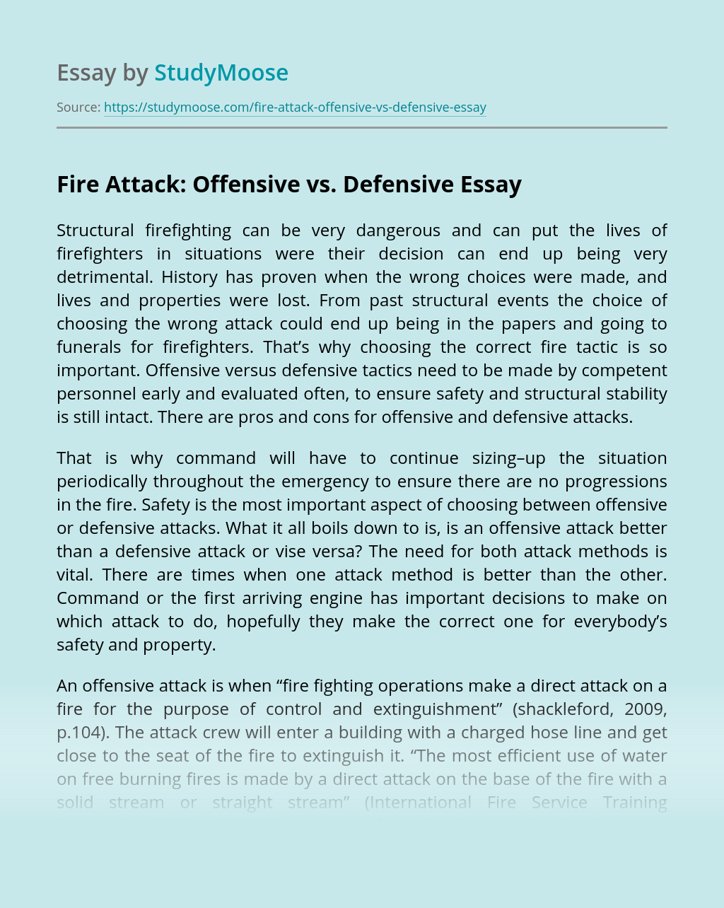 Fire Attack: Offensive vs. Defensive