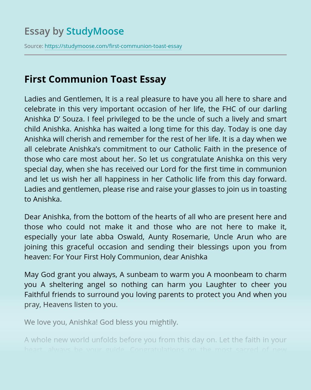 First Communion Toast