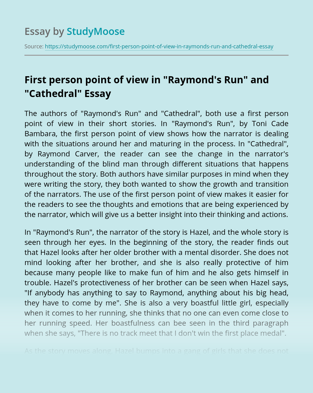 "First person point of view in ""Raymond's Run"" and ""Cathedral"""