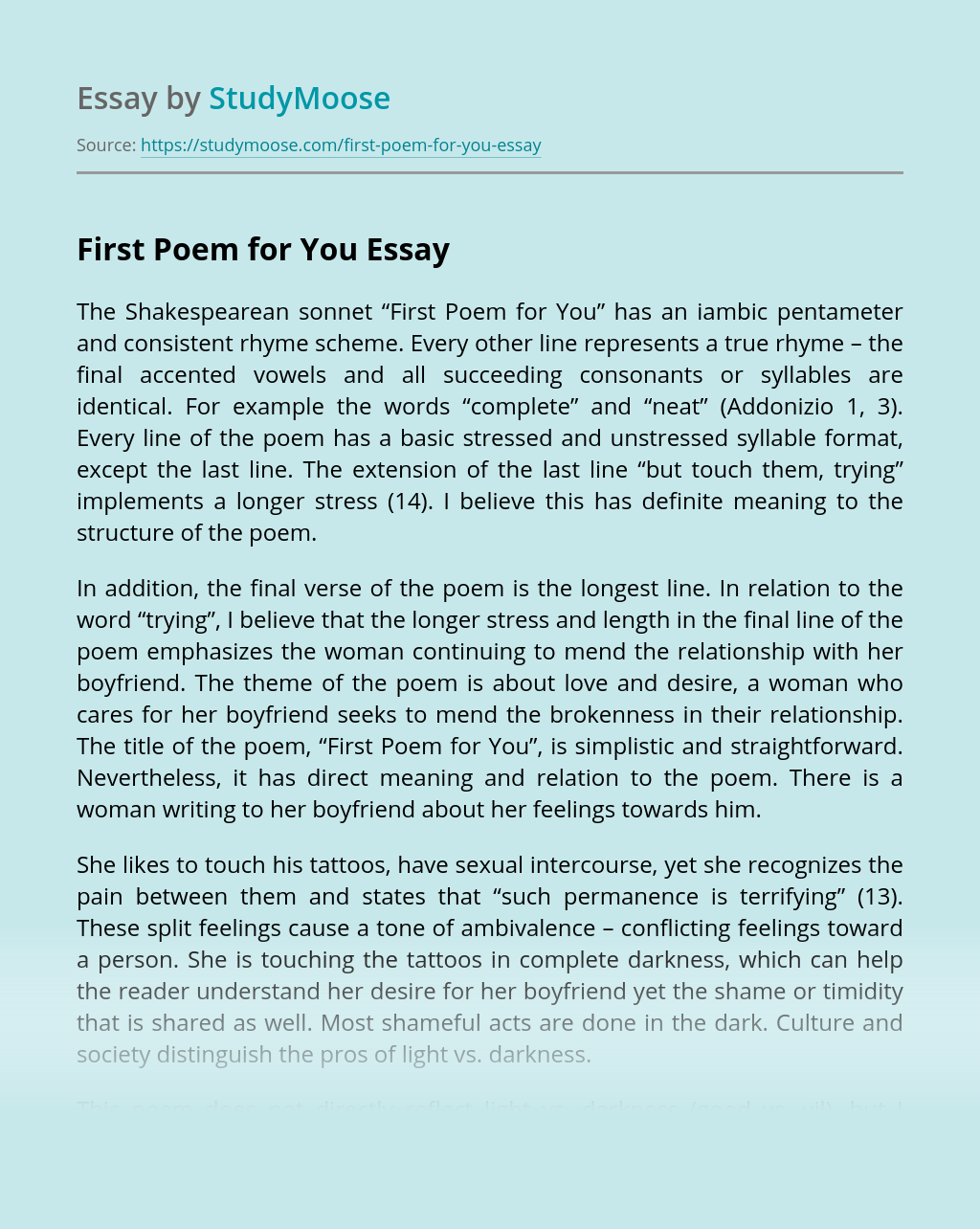 First Poem for You