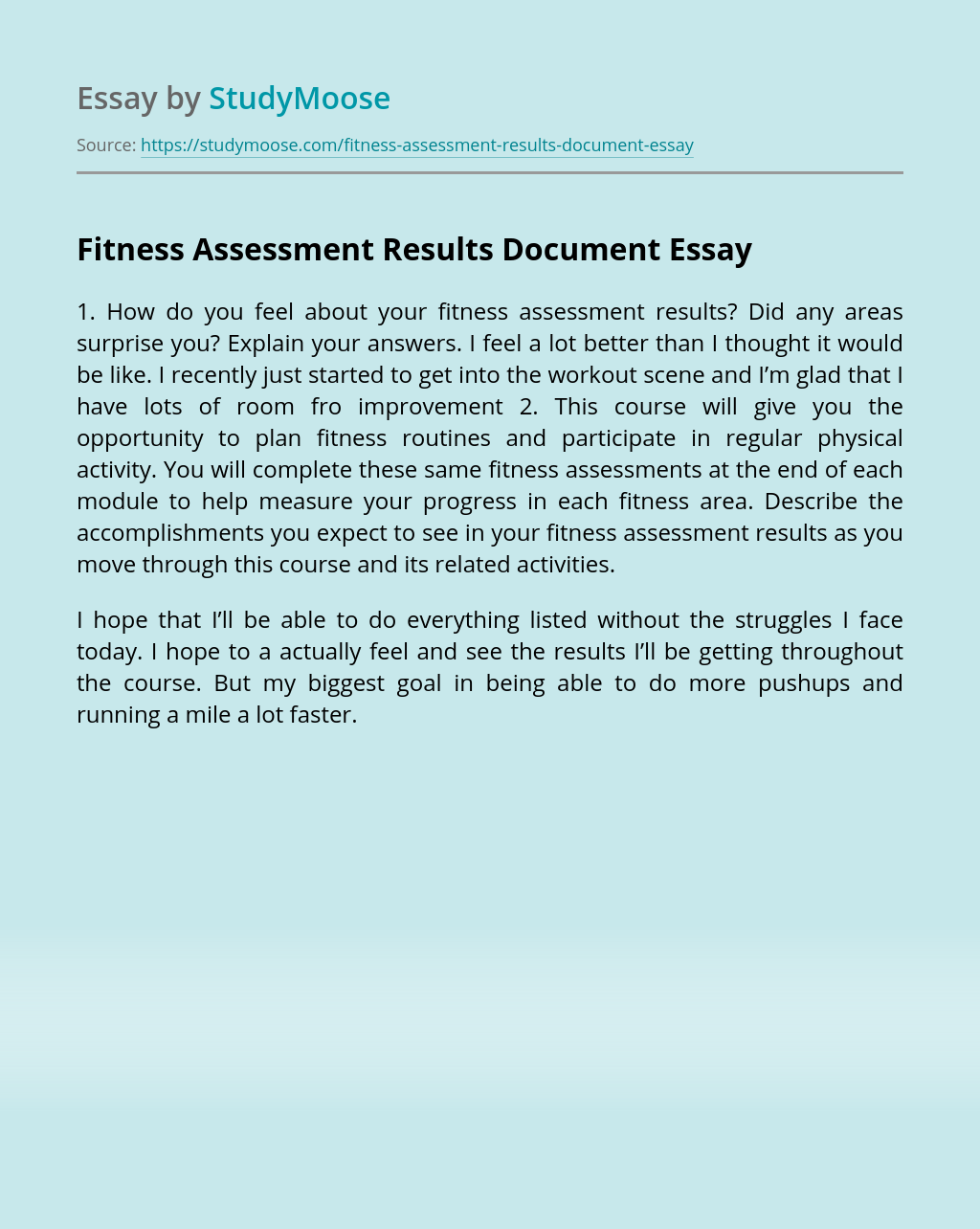Fitness Assessment Results Document