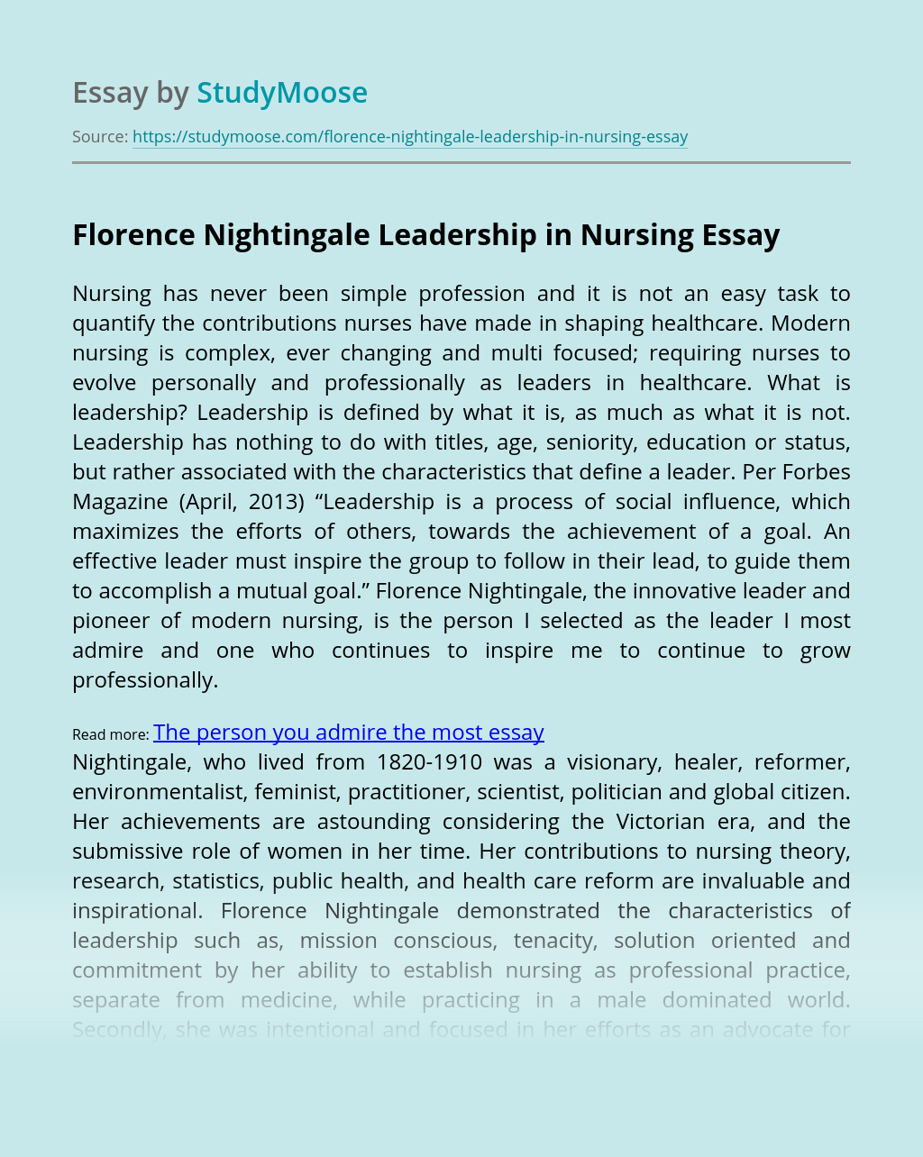 Florence Nightingale Leadership in Nursing