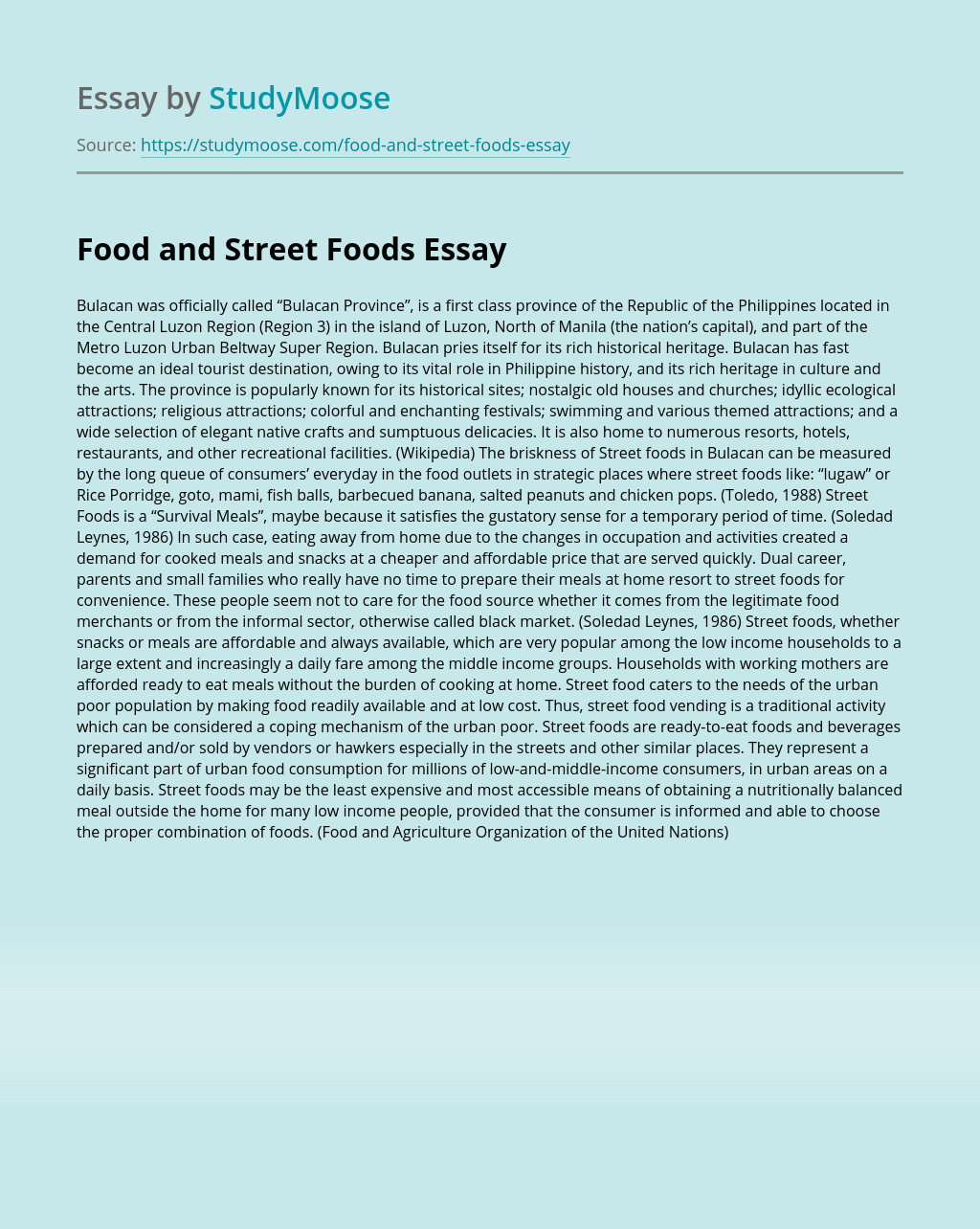 Food and Street Foods