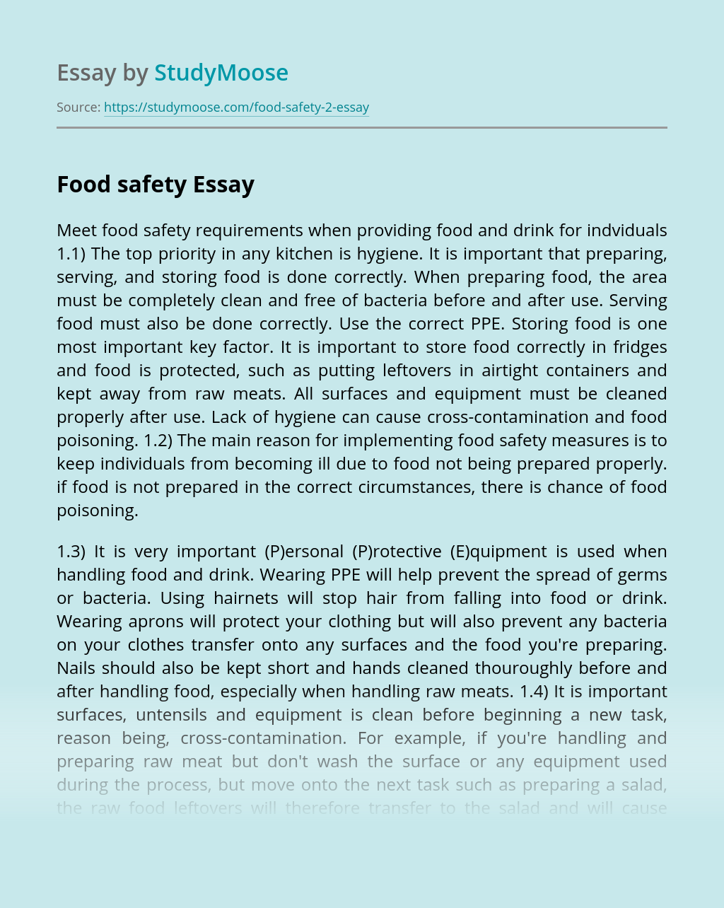 Identify Sources Of Information About Food Safety Essay Example