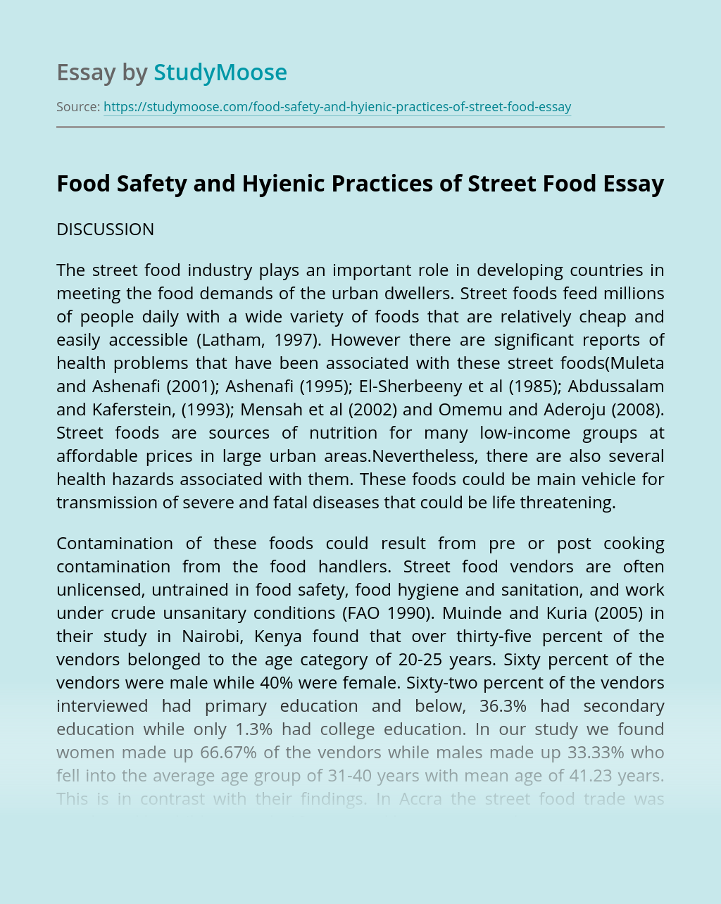 Thesis statement about street foods why is audience important in academic writing