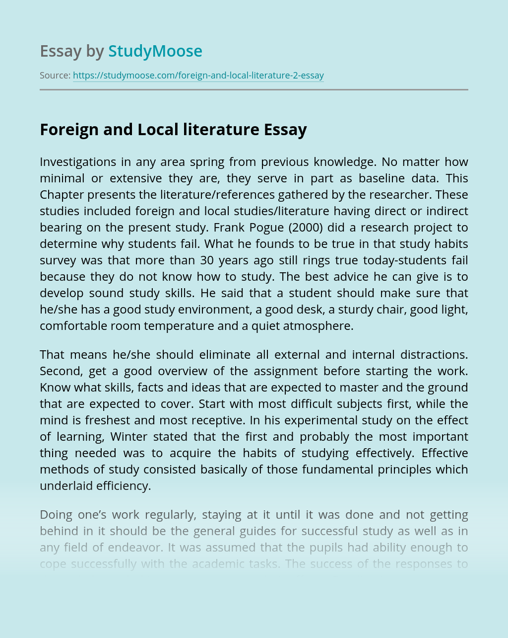 Foreign and Local literature