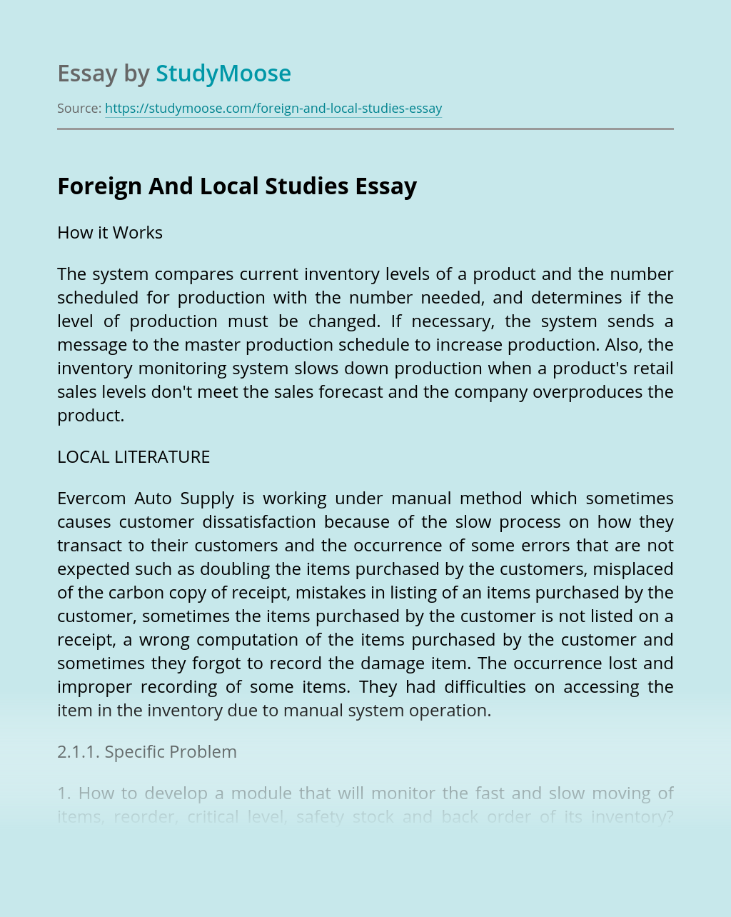 Foreign And Local Studies