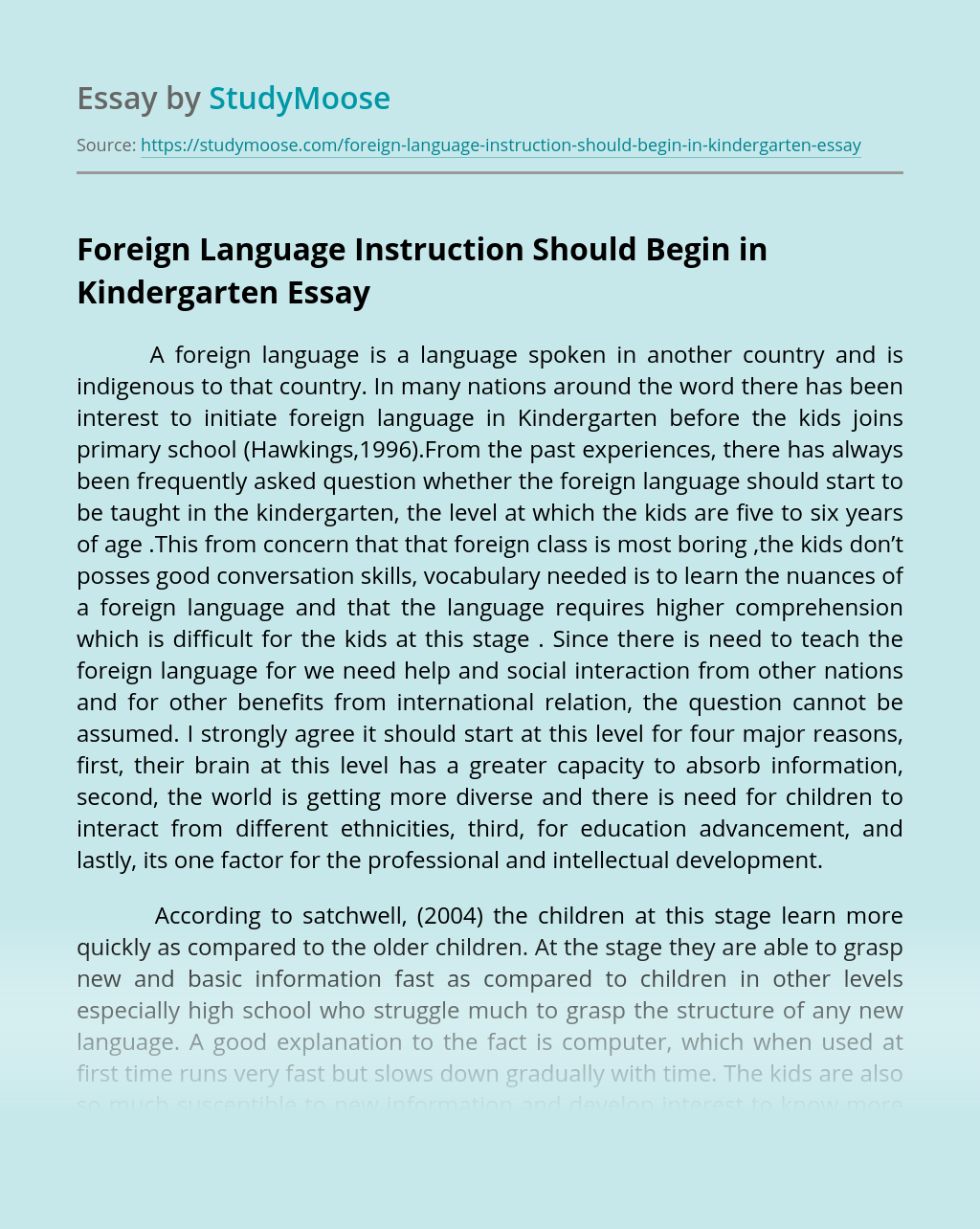 Foreign Language Instruction Should Begin in Kindergarten