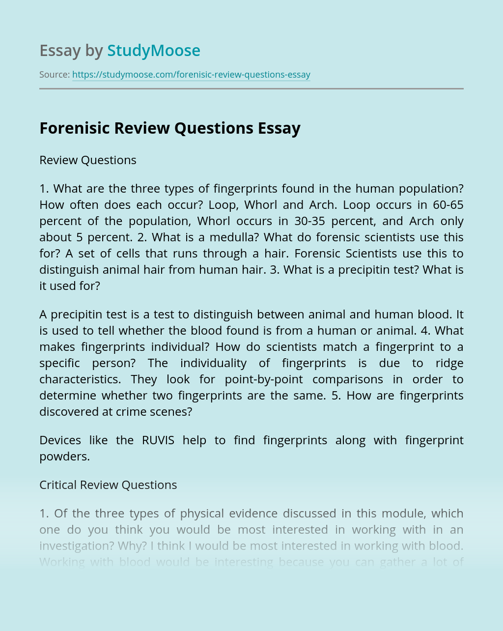 Forenisic Review Questions