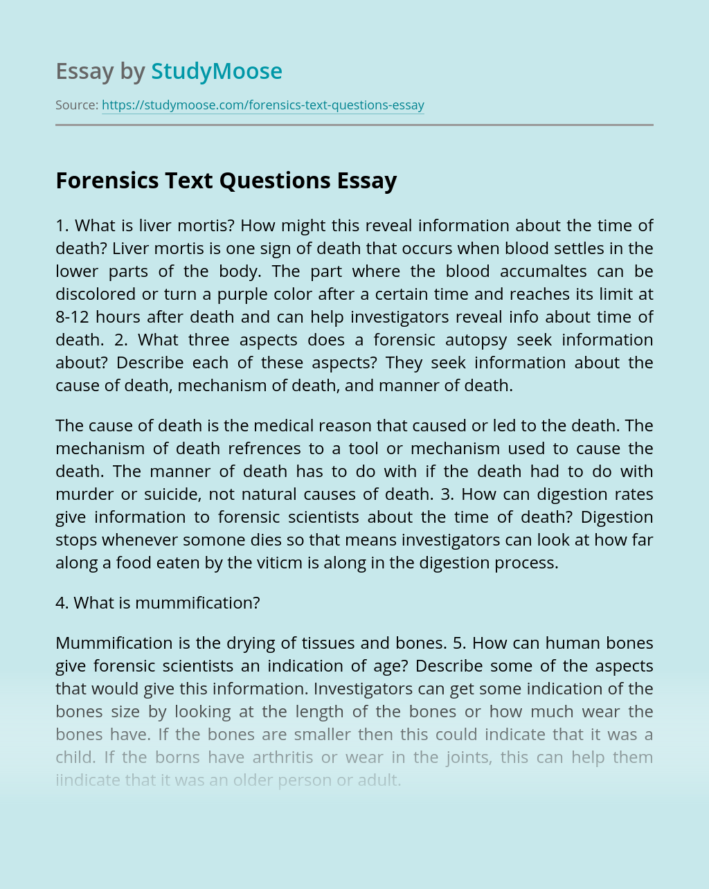 Forensics Text Questions