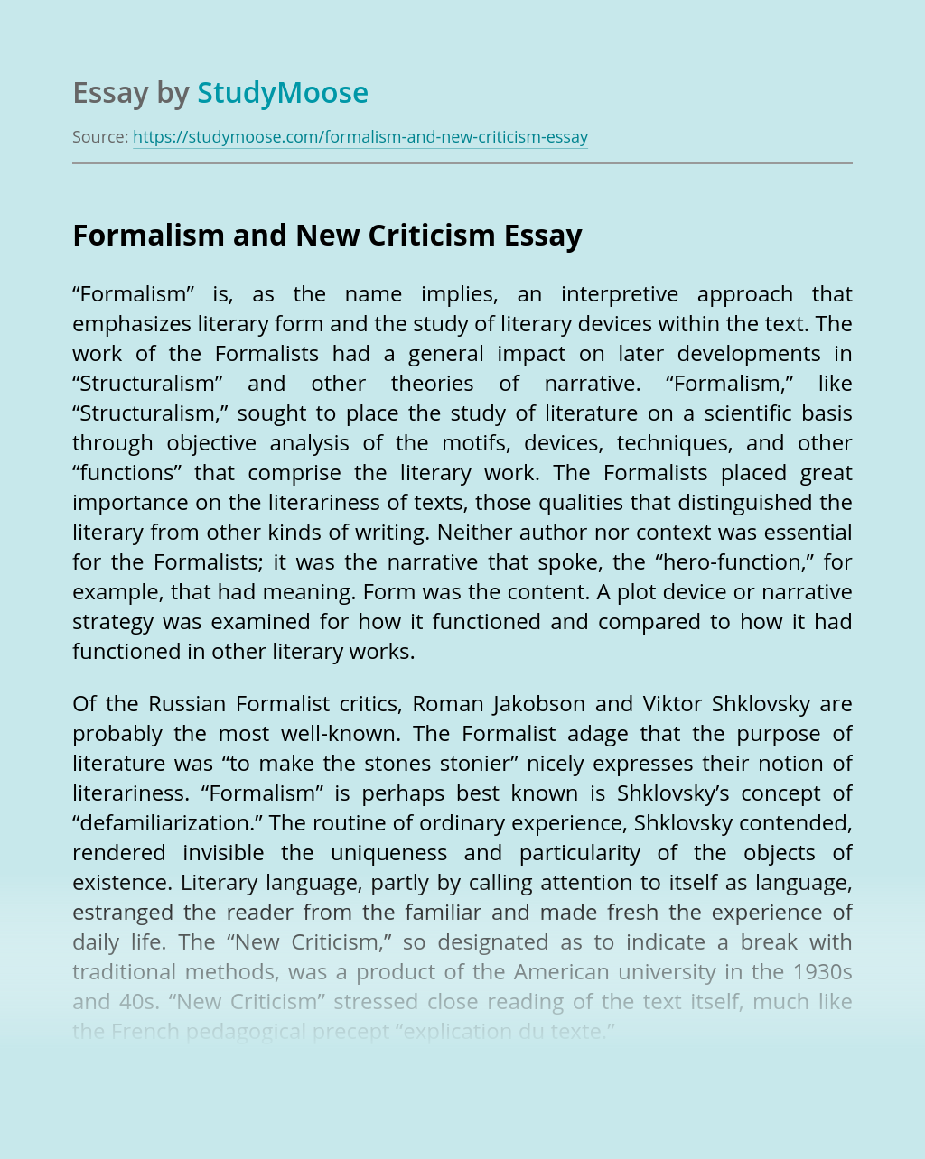 Formalism and New Criticism