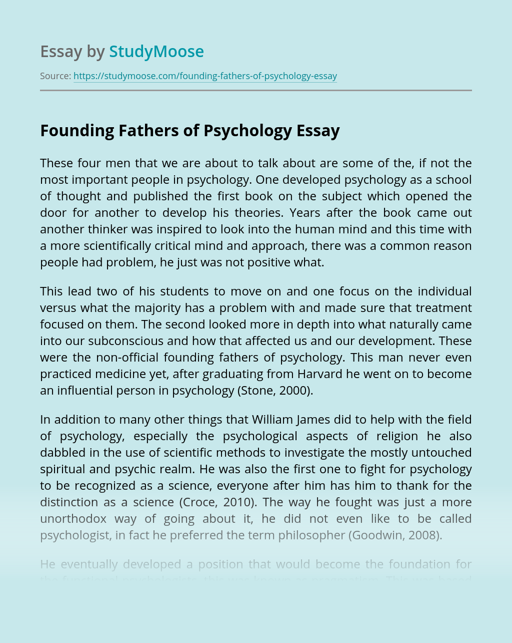Founding Fathers of Psychology