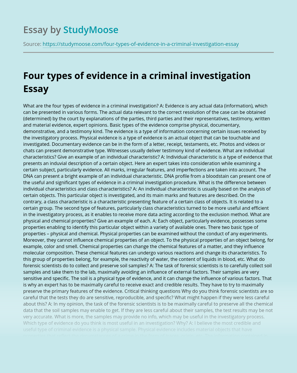 Four Types of Evidence in a Criminal Investigation