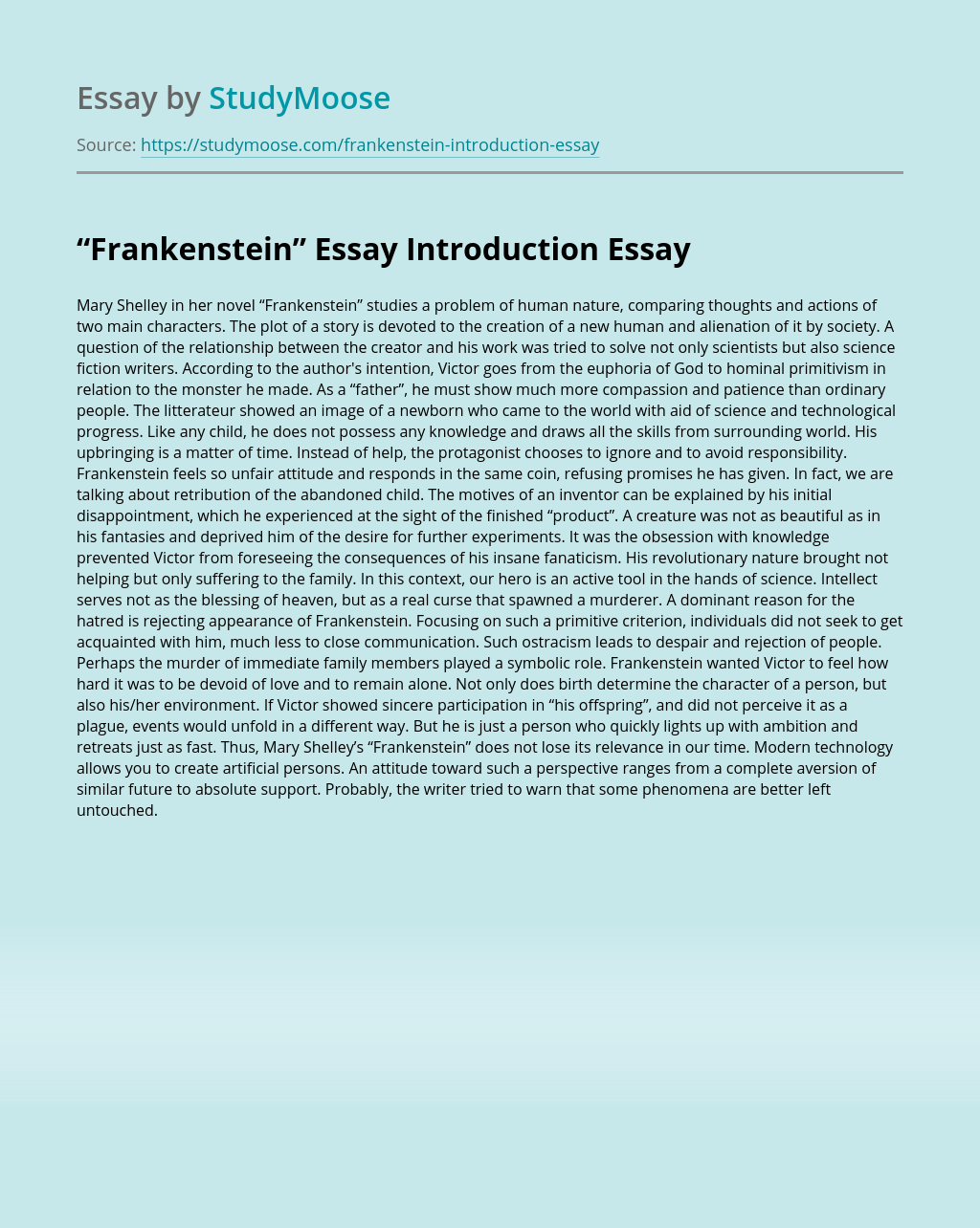 """""""Frankenstein"""" Essay Introduction"""