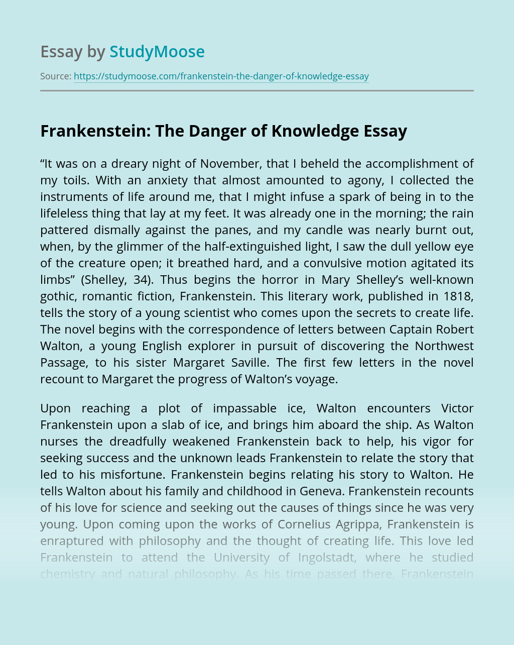 How to start an essay about frankenstein best career objective for resume