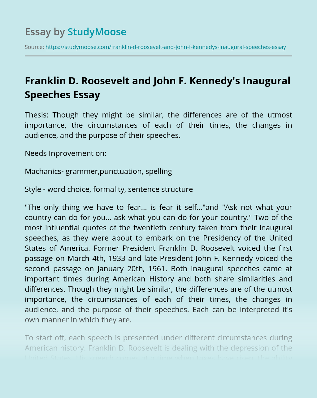Franklin D. Roosevelt and John F. Kennedy's Inaugural Speeches