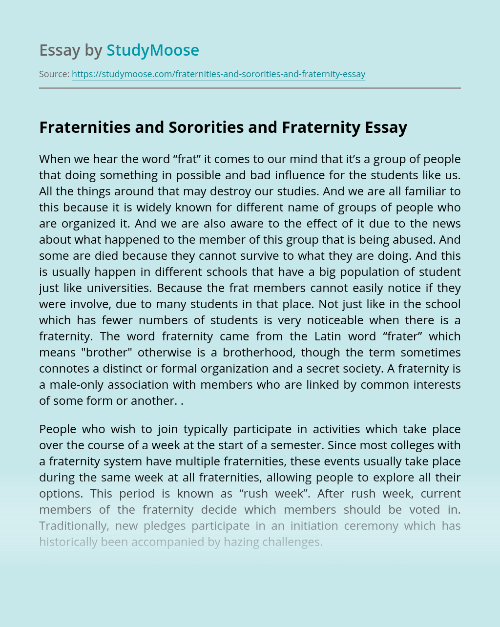 Fraternities and Sororities and Fraternity