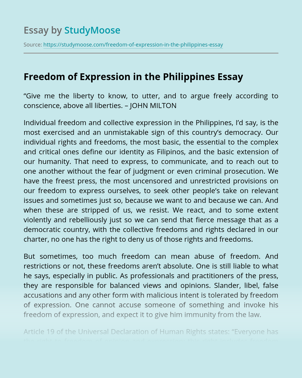 Freedom of Expression in the Philippines