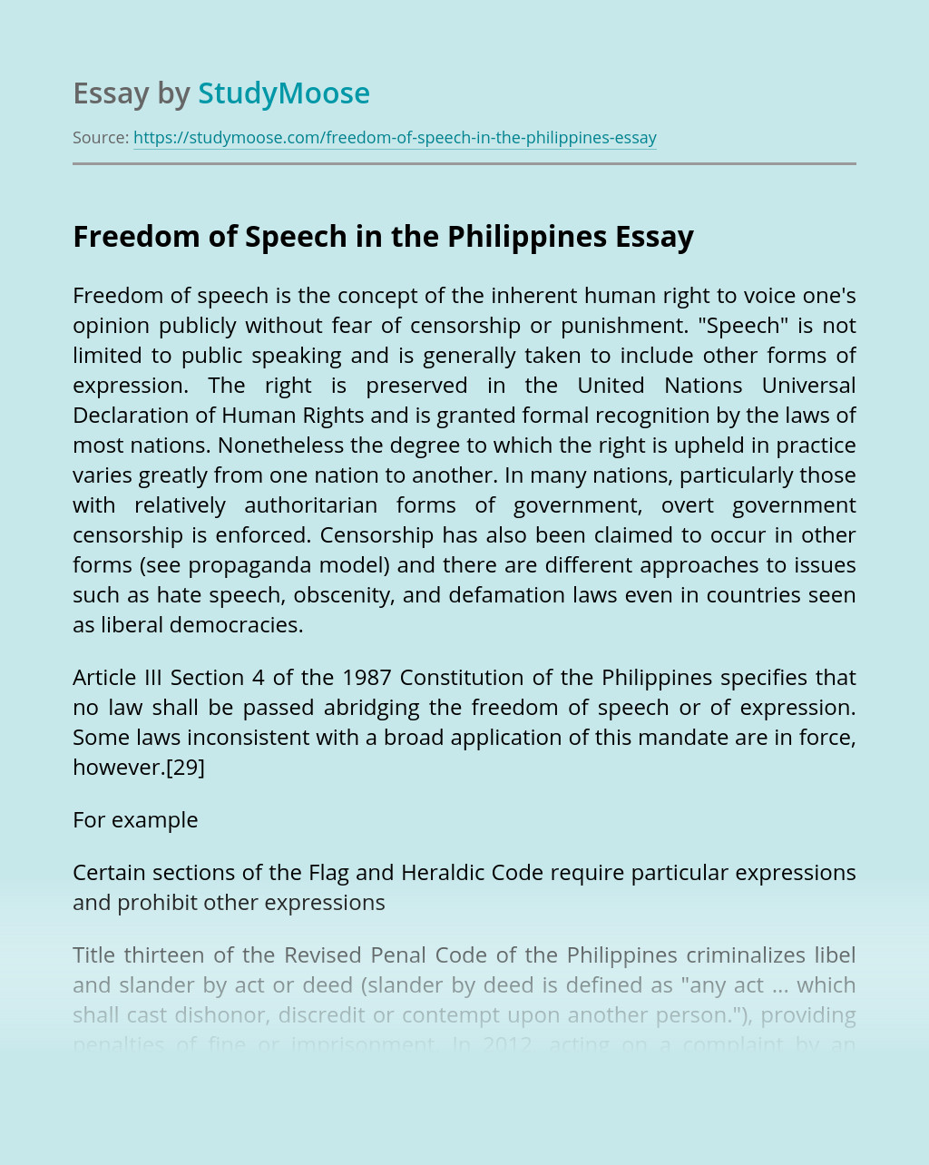 Freedom of Speech in the Philippines