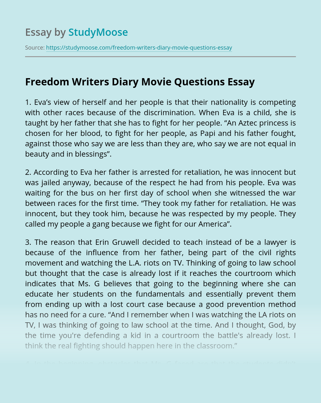Freedom Writers Diary Movie Questions