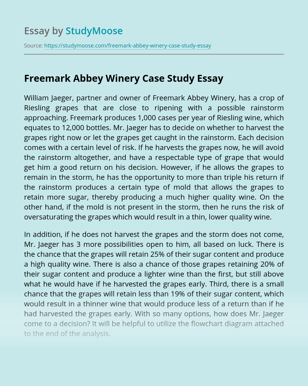 Freemark Abbey Winery Case Study