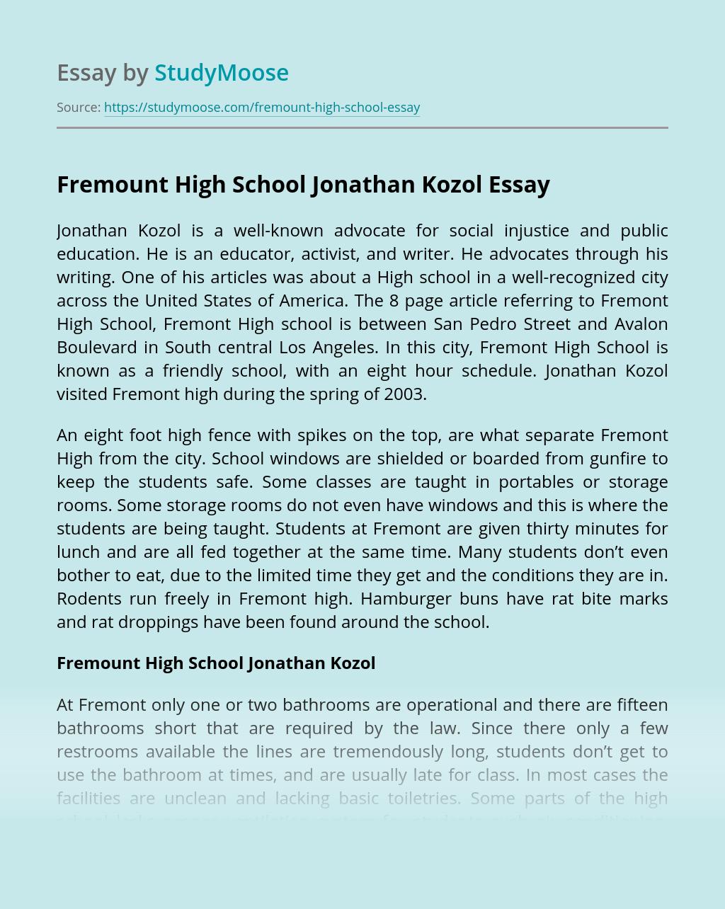 Fremount High School Jonathan Kozol