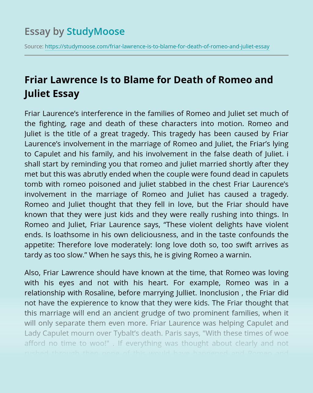 Friar Lawrence Is to Blame for Death of Romeo and Juliet